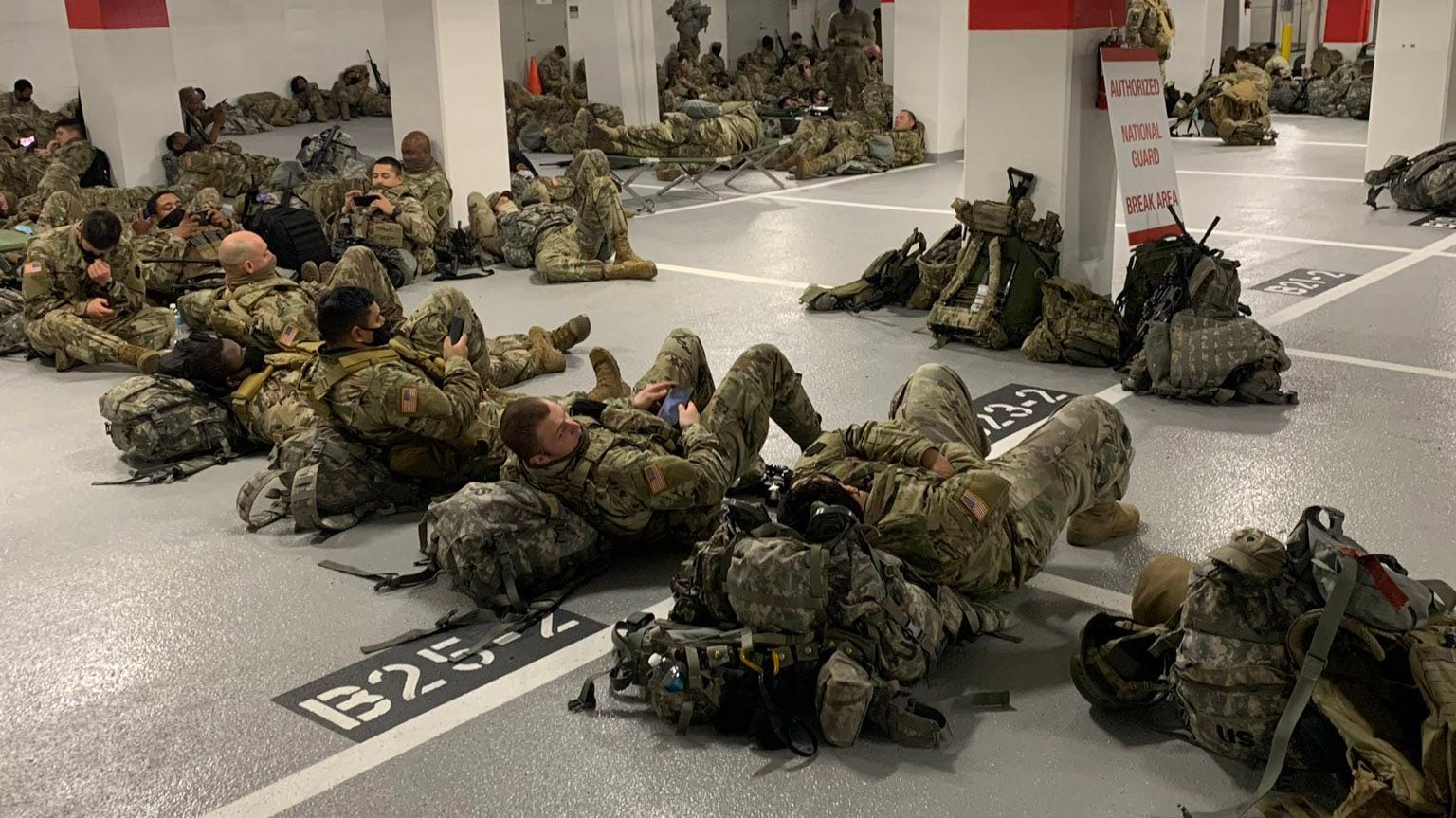 national guard troops parking garage
