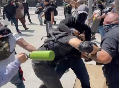 antifa proud boy brawl