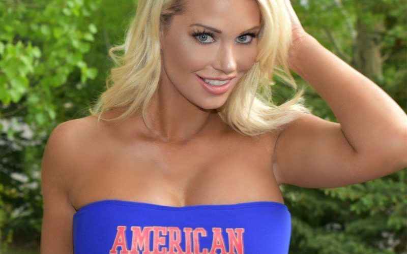 Patriotic Model Shows Off Her American Flag, and Much More